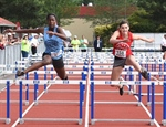 PHOTO: Hurdle action at the track Saturday
