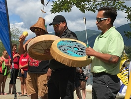 Traditional Welcome for the athletes in Lake Cowichan