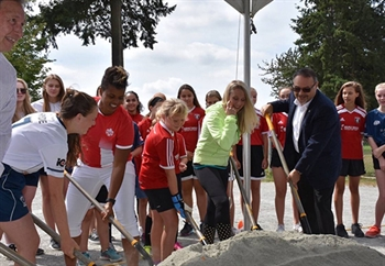 Sod turning for Karina LeBlanc field in Maple Ridge